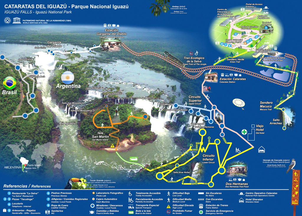 Карта аргентинской части парка Игуасу