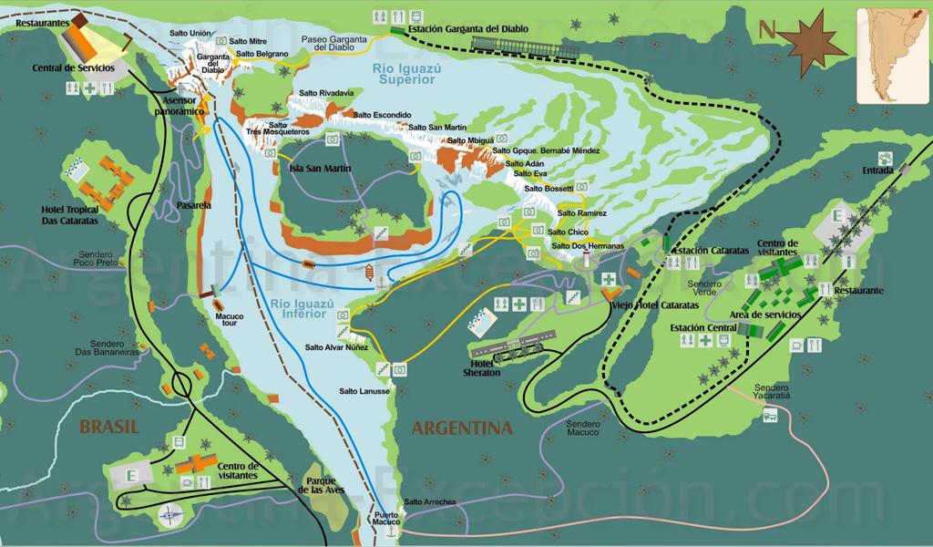 карта Национального парка водопады Игуасу в Бразилии