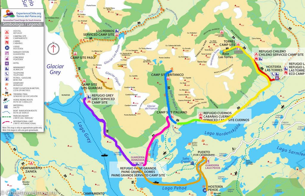 карта маршрут W трека в Торрес доель Пайне