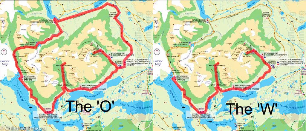 маршруты для треккинга в Торрес дель Пайне O и W отзыв